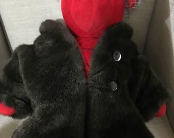 Vintage Beautiful Lauren Bearcall red teddy bear dressed in fur coat and veil