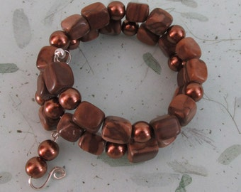 Picture Jasper Wrap bracelet with Bronze Glass Pearls and Sterling Silver accents
