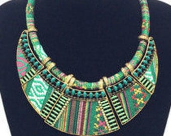 Green African Tribal Inspired Necklace