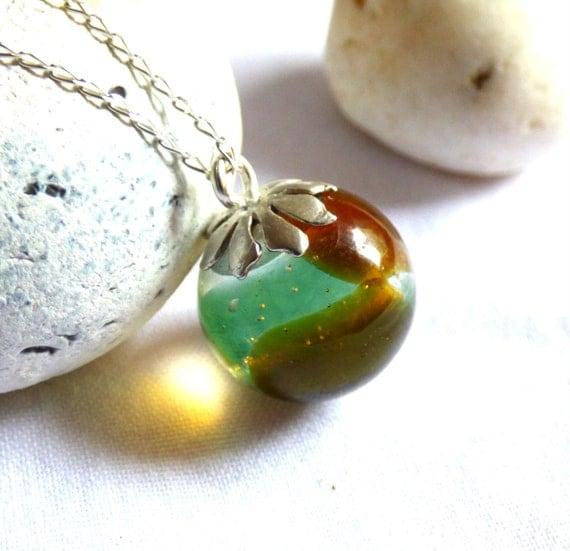 Resin Pendant, Sea Glass Pendant, Orb Pendant, Resin Orb, Sea Glass Necklace, Beach Glass Pendant, Resin Ball, Resin Sphere - PD16023