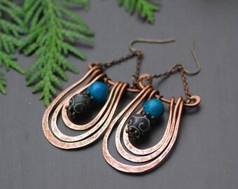 Ready to ship Sky blue Black Copper earrings Bohemian earrings Rustic Copper  Copper Dangle Earrings Patina earrings Dangle earrings Hippie