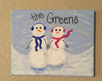 Personalized Snowman Canvas Painting