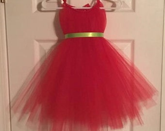 Red Tulle Dress - Christmas Dress - Green Ribbon