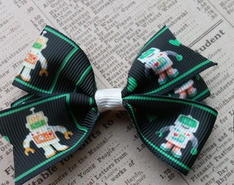 Robot Hair Bow, girls hair bows, toddler hair bows, party favors, robot party favors
