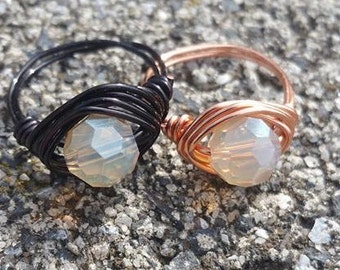 Wire Wrapped Ring with smokey clear bead