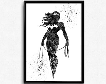 Wonder Woman inspired, Superhero, Watercolor Print, Black and White Watercolor, Poster, gift, Print, Wall Art  (260)