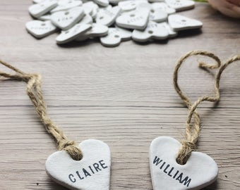 10 Personalised Clay Heart Place Tags, Wedding Favour/Favor Tags - Rustic, Vintage, Shabby Chic, Country Wedding Decor, Table Decoration