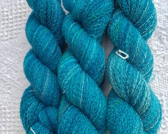 Hand Dyed 100% Cashmere Yarn - Reclaimed Yarn, Recycled Yarn, Upcycled Yarn, Economical, Eco Friendly - Lace Weight - Caribbean Blues