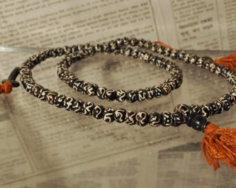 Mala Tibetan black sign os Om 108 beads with 2 counters