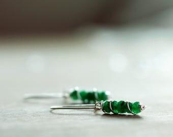 Sterling silver Emerald gemstone earrings   Natural genuine Emerald earrings   May birthstone earrings   Real green Emerald beaded earrings