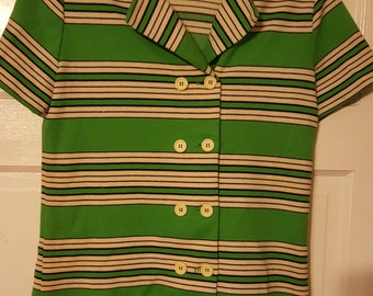 Hippie , Vintage Top , Short Sleeved Top , Vintage Short Sleeved Top , Vintage Striped Top , Vintage Buttoned Top , Green and Blue Top