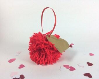 Pom Pom Heart Tag - Red Gift Topper - Love Present Label