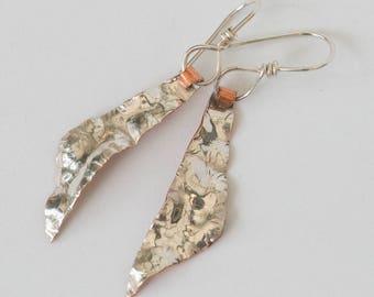 Handcrafted, handmade, sterling silver, copper, earrings