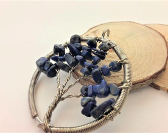 Tree of life necklace sterling silver, lapis lazuli necklace tree of life, reiki stone lapis lazuli, wire wrapped jewelry, 925 silver chain