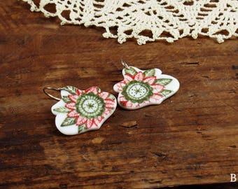 Ethnic - great goddess - porcelain earrings