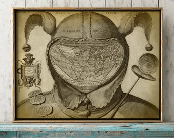 WORLD MAP Print, The Fool Head, Old World Chart, Old School Map, World Map Poster, Wall Decor