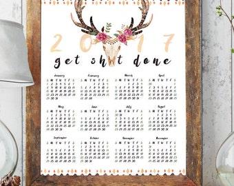 printable calendar 2017, large calendar printable, 2017 planner, boho wall calendar, 2017 calendar, inspirational quote wall art print