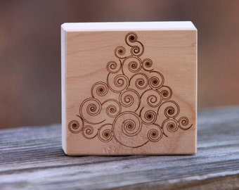 Artistic Christmas tree wood block - rustic, cute and festive home decor - free shipping in U.S.!
