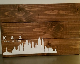 Rustic Wood Wedding Guest Book - New York City Skyline