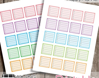 Checklist Boxes, Mini Happy Planner PRINTABLE Planner Stickers  Instant Digital Download