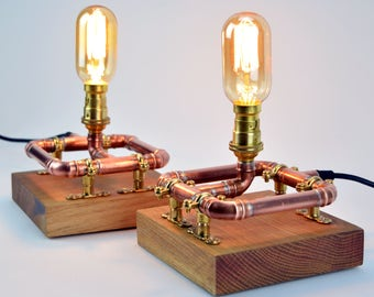 Bedside Table Lamps - Bedside Lights - Table Lamps Lights - Industrial Copper Pipe - Reclaimed Oak