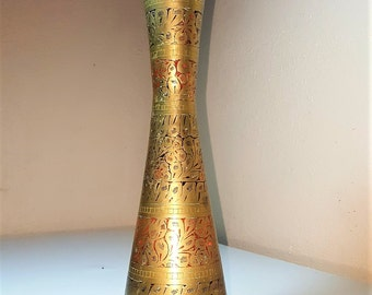 Engraved brass vase Etsy