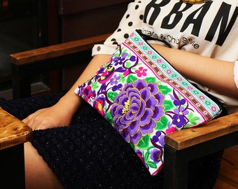 Beautiful Clutch With Purple Flower Embroidered Fabric