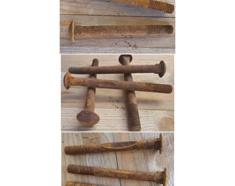 """Vintage Rusted Metal Bolt w/ Round Head 5 1/8"""" long Great for Steampunk Art Repurpose Upcycle - Nine (9)"""