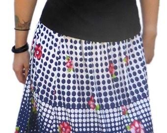 70s-80s Vintage Boho Floral Skirt S12-14