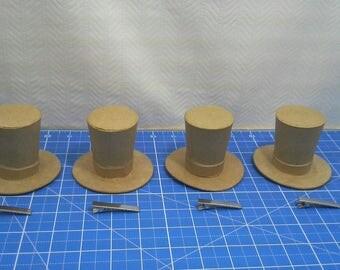 4 Paper Mache Mini Top Hats w/Hair Clips Steampunk Cosplay Bachelorette Wedding Craft Doll Victorian Hat Tea Parties Hair Barrettes Kraft