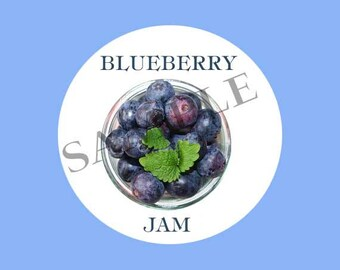 Blueberries Round Canning Label #L360