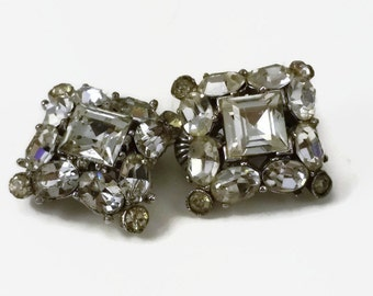 Pair of Rhinestone Brooches Pins Marked PAT Pending