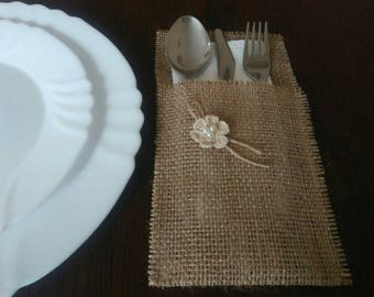 RusticSilverware Holders, Burlap Silverware Holders, Table Decor, Rustic table decor, Wedding Table Set, Burlap table decoration