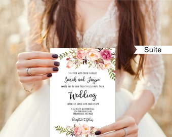 Floral Wedding Invitation Template, Boho Chic Wedding Invitation Suite, Wedding Set, #A019C, Editable PDF - you personalize at home.