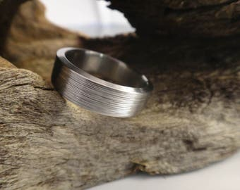 Handmade titanium ring with a textured finish, his titanium band, textured titanium wedding ring for him or her, engagement ring