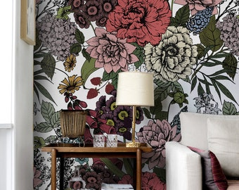 Autumn flowers wall mural,  Beauty floral wallpaper,  Removable wallpaper,  Wall covering,  Wall sticker  #59
