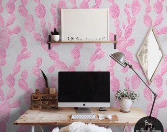 Detailed pink cactus wallpaper || Floral || Pale || Watercolor #73