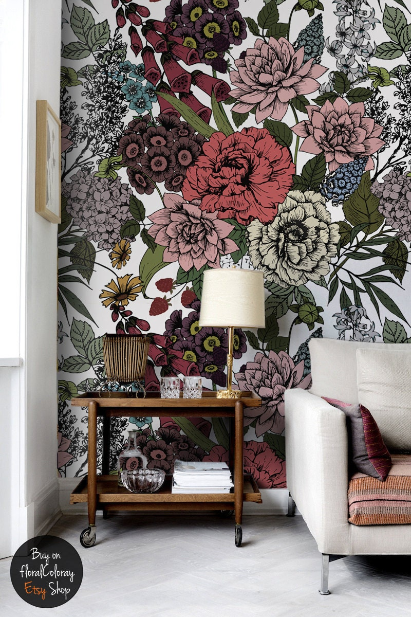 Autumn flowers wall mural beauty floral wallpaper - Flower wallpaper mural ...