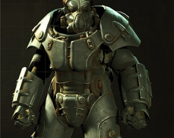 Fallout 4 Enclave x-01 cosplay armor suit replica blueprints for pepakura papercraft to build your own model