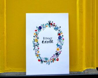 """Set de 6 cartes de voeux """"Bonne année"""" originales & faites main. Dessin aquarelle, couronne fleurie et festive. Texte personnalisable."""