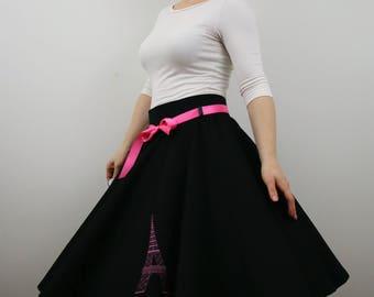 Eiffel Tower full circle skirt for women, black skirt, 1950s skirt, poodle skirt, swing skirt, knee length skirt, personalised skirt