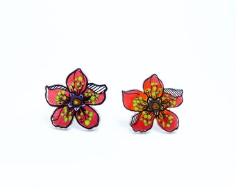 Earrings ear/chips: Anemones Red