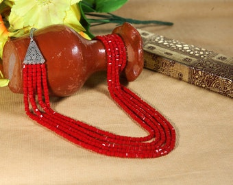 fire red glass beads with metal
