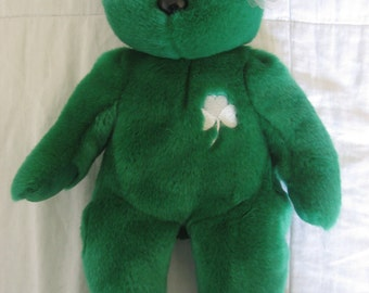 """TY BEANIE Babies Baby ERIN  13"""" St. Patrick's Patty's Day Luck of The Irish Ireland Shamrock  Large  Stuffed Animal Collectible Toy Retired"""
