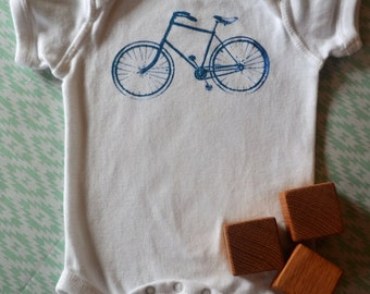 Baby Bicycle Onesie-White: 3-6 months