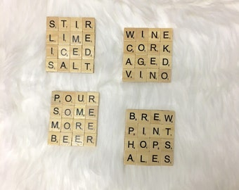 Beer and Wine Theme Coasters. Scrabble Coasters - Set of 4 with Cork Bottoms. Letter Coasters. Tile Coasters. FREE SHIPPING.