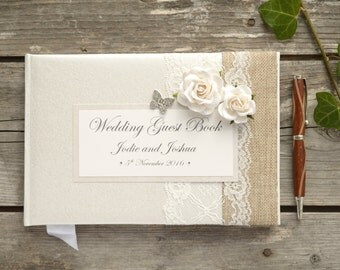 Personalised Wedding Guest Book. Luxury Vintage Style Rose, Lace & Butterfly Design. Vintage, Country Rustic Handmade Wedding Guest Book.