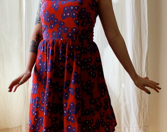 1970s Lanz red and blue floral sundress || 70s designer poppy novelty print dress