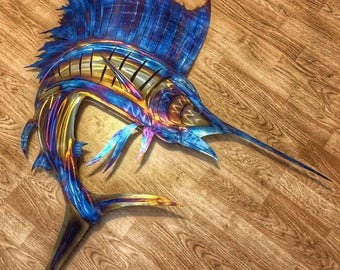 "59""x57"" Stainless steel Sailfish"