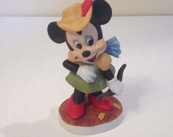 Disney's Minnie Mouse, Vintage Bisque Porcelain Figurine, Dressed as Archer with Bow and Arrows, Walt Disney Productions